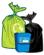 Green sack, blue bin, black sack